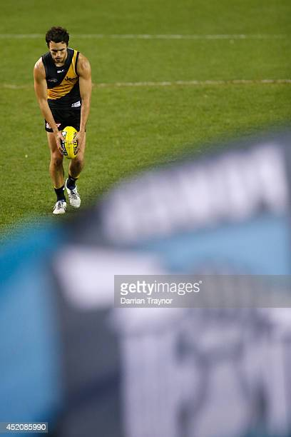 Shane Edwards of the Tigers kicks a goal during the round 17 AFL match between the Richmond Tigers and the Port Adelaide Power at Etihad Stadium on...