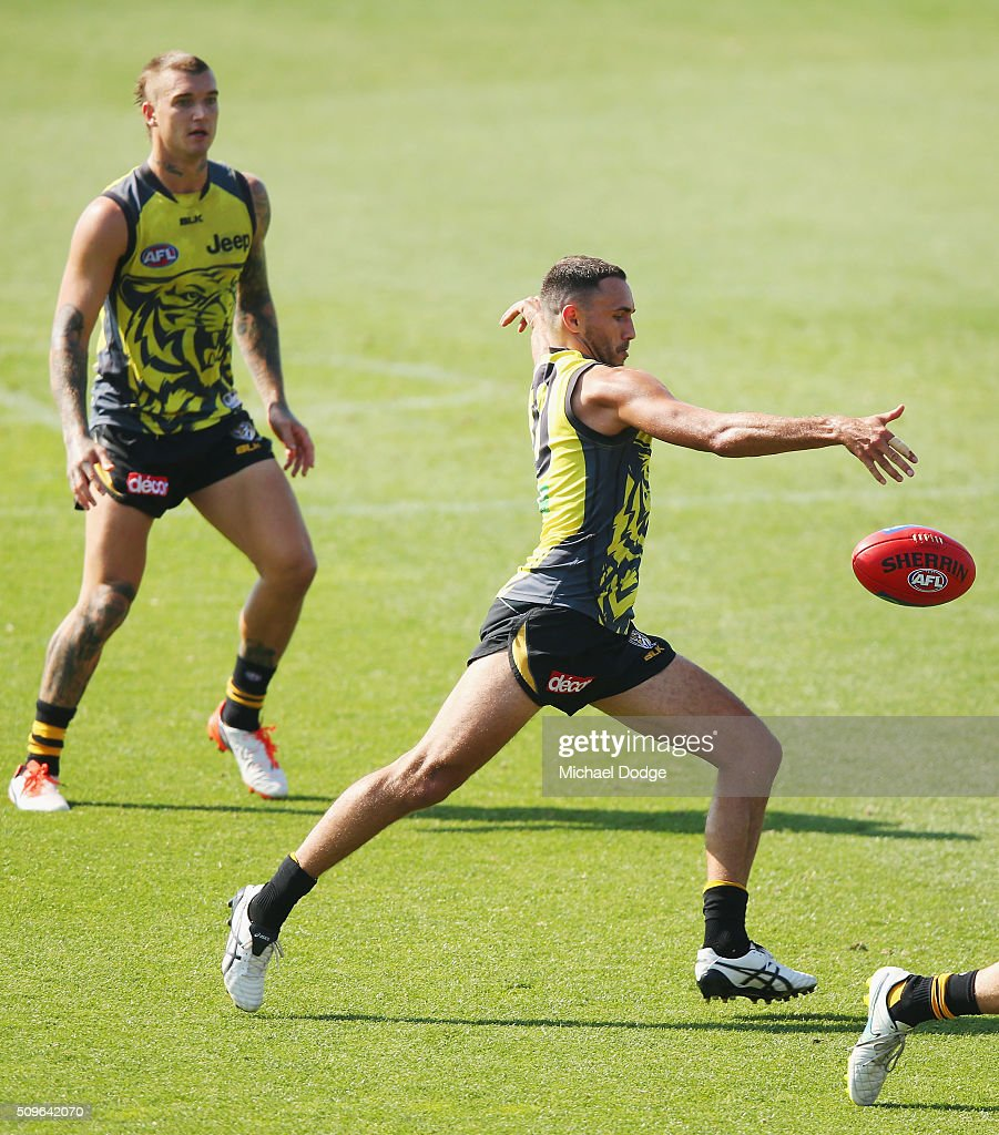 Shane Edwards of the Tigers kicks the ball during the Richmond Tigers AFL intra-club match at Punt Road Oval on February 12, 2016 in Melbourne, Australia.