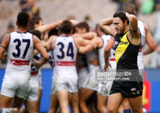 Shane Edwards of the Tigers looks dejected after a loss during the 2017 AFL round 08 match between the Richmond Tigers and the Fremantle Dockers at...