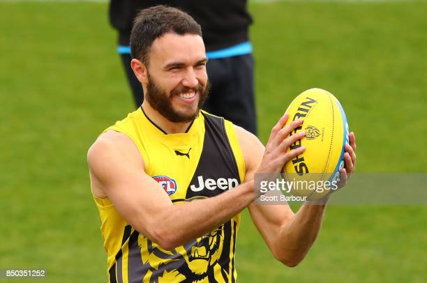 Shane Edwards of the Tigers smiles during a Richmond Tigers AFL training session at Punt Road Oval on September 21 2017 in Melbourne Australia