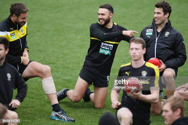 Shane Edwards points to Alex Rance during a Richmond Tigers AFL training session at Punt Road Oval on September 12 2017 in Melbourne Australia