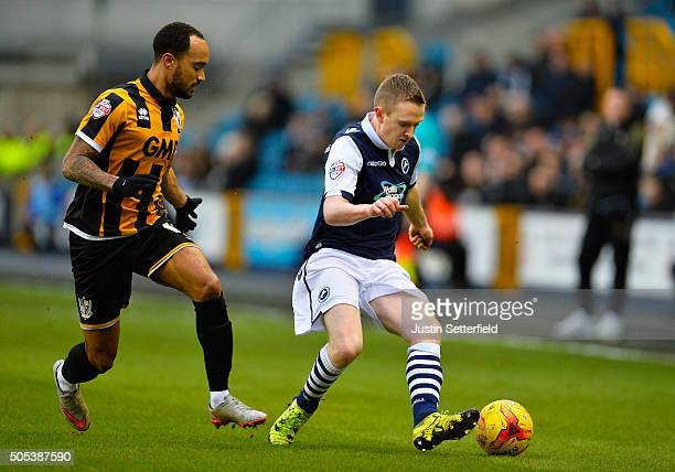 Shane Ferguson of Millwall FC and Byron Moore of Port Vale in action during the Sky Bet League One match between Millwall and Port Vale on January 17...