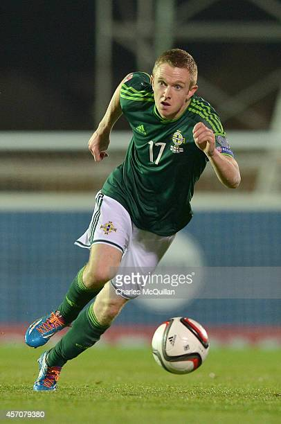 Shane Ferguson of Northern Ireland during the Euro 2016 Qualifier between Northern Ireland and Faroe Islands at Windsor Park on October 11 2014 in...