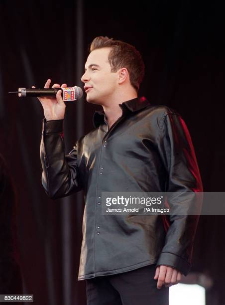 Shane Filan of the boy band Westlife performing on stage at the BRMB Party in the Park at the Alexander Stadium Birmingham