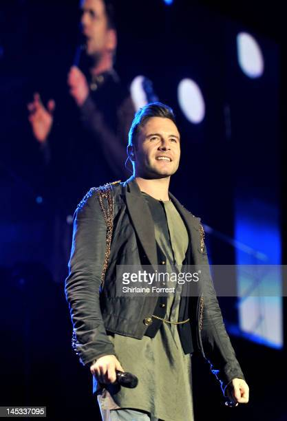 Shane Filan of Westlife performs at MEN Arena as part of their farewell tour on May 26 2012 in Manchester England