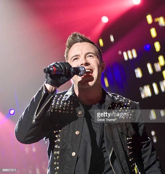 Shane Filan of Westlife performs on stage at LG Arena on May 16 2010 in Birmingham England