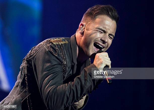 Shane Filan of Westlife performs on stage during the band's farewell tour at O2 Arena on May 12 2012 in London United Kingdom