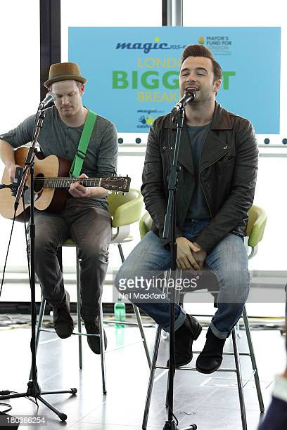 Shane Filan performs during Magic 1054 FM's Live broadcast promoting London's Biggest Breakfast fundraising event on Thursday 12th September 2013...