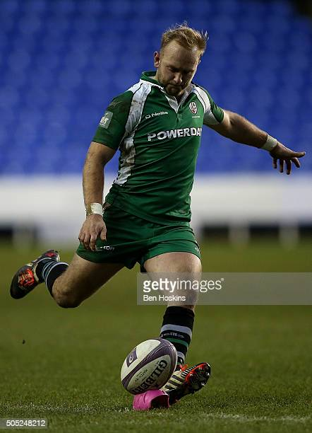 Shane Geraghty of London Irish kicks a conversion during the European Rugby Challenge Cup match between London Irish and Grenoble at Madejski Stadium...