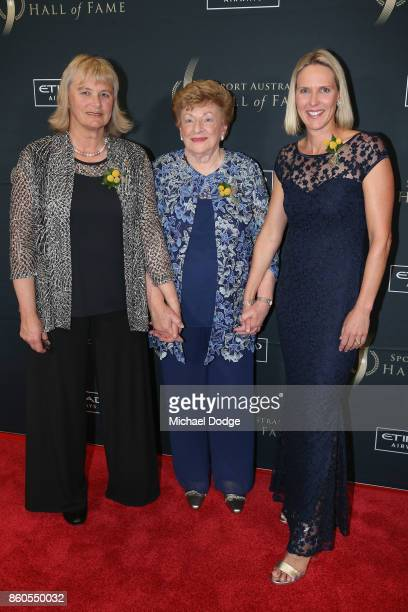 Shane Gould Majorie Jackson and Susie O'Neil pose at the Sport Australia Hall of Fame Annual Induction and Awards Gala Dinner at Crown Palladium on...
