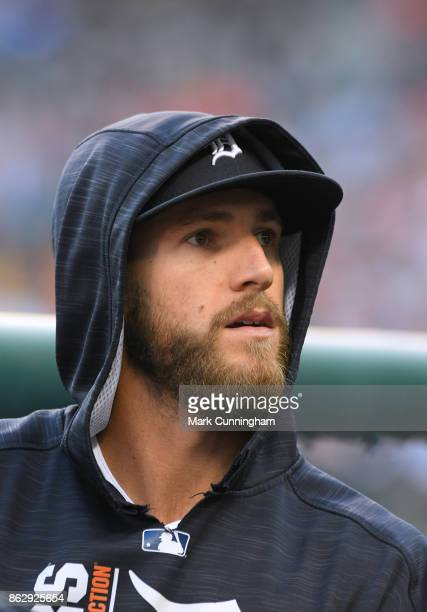 Shane Greene of the Detroit Tigers looks on from the dugout during the game against the Chicago White Sox at Comerica Park on September 16 2017 in...