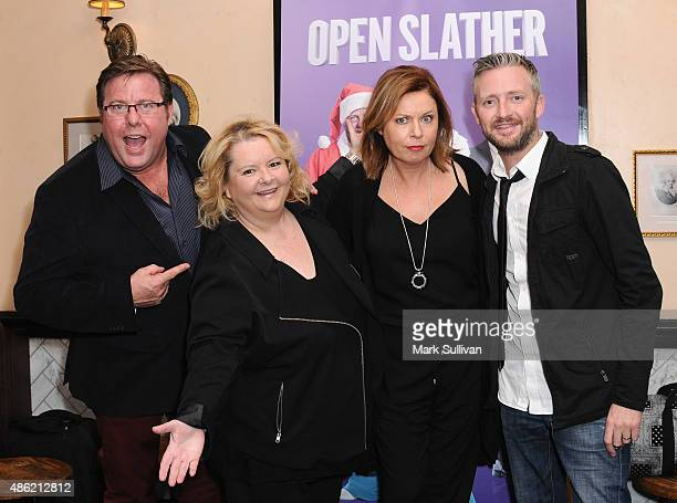 Shane Jacobsen Magna Szubanski Gina Riley and Stephen Curry arrive at The Print Room on September 2 2015 in Sydney Australia