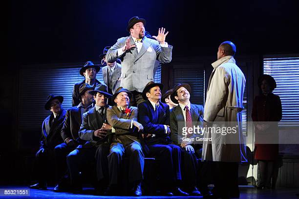 Shane Jacobson and Garry McDonald perform onstage at the photo call for the new stage production of 'Guys And Dolls' at The Capitol Theatre on March...