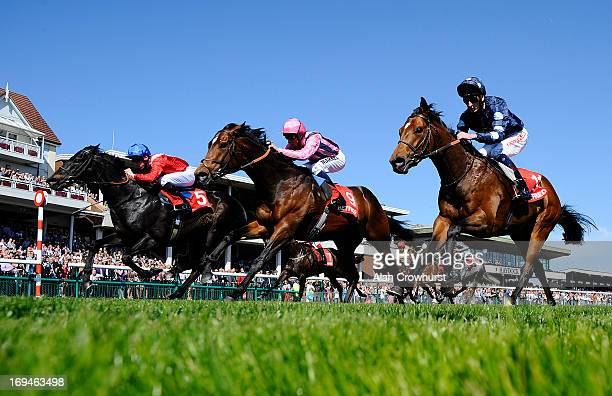 Shane Kelly riding Kingsgate Native win The Betfred Temple Stakes at Haydock racecourse on May 25 2013 in Haydock England