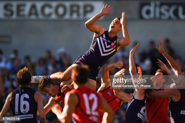 Shane Kersten of the Dockers attempts a mark during the 2017 AFL round 07 match between the Fremantle Dockers and the Essendon Bombers at Domain...