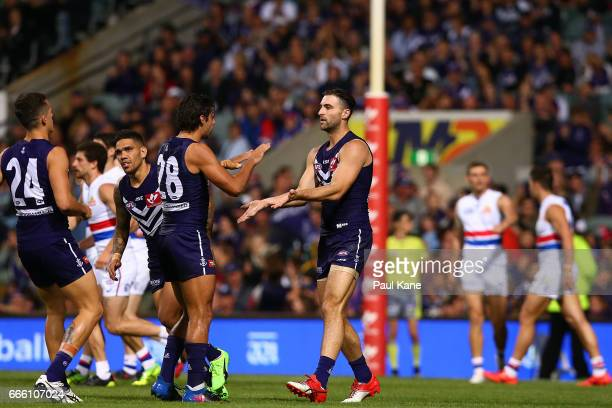Shane Kersten of the Dockers celebrates a goal during the round three AFL match between the Fremantle Dockers and the Western Bulldogs at Domain...