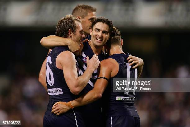 Shane Kersten of the Dockers celebrates after defeating the Kangaroos during the round five AFL match between the Fremantle Dockers and the North...