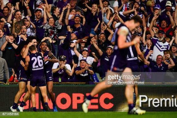 Shane Kersten of the Dockers celebrates kicking the winning goal during the 2017 AFL round 05 match between the Fremantle Dockers and the North...