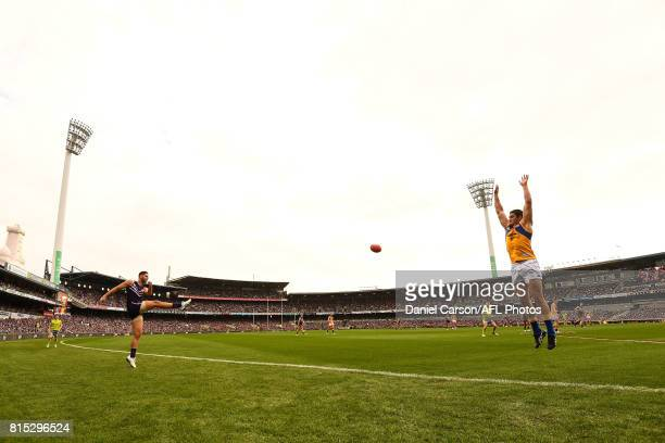 Shane Kersten of the Dockers kicks the ball during the 2017 AFL round 17 match between the Fremantle Dockers and the West Coast Eagles at Domain...