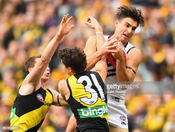 Shane Kersten of the Dockers marks infront of Oleg Markov of the Tigers during the round eight AFL match between the Richmond Tigers and the...