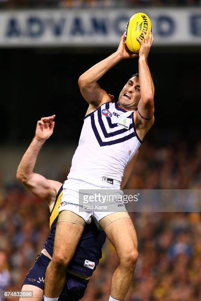 Shane Kersten of the Dockers marks the ball during the round six AFL match between the West Coast Eagles and the Fremantle Dockers at Domain Stadium...