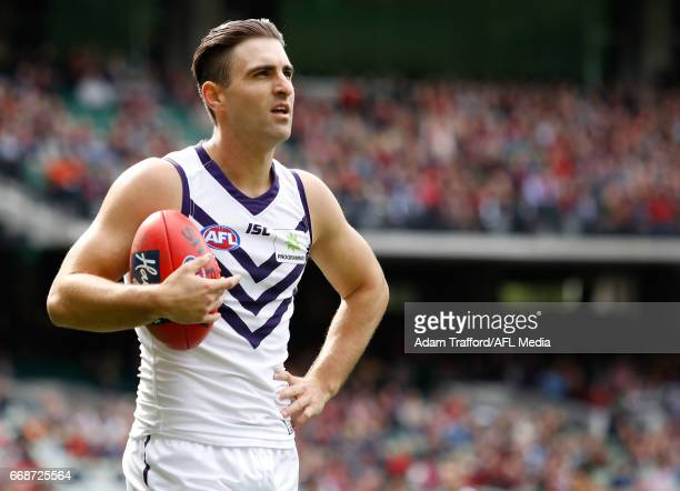 Shane Kersten of the Dockers takes a breath during the 2017 AFL round 04 match between the Melbourne Demons and the Fremantle Dockers at the...