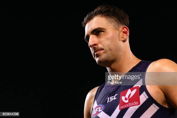 Shane Kersten of the Dockers walks from the field after being defeated during the round 18 AFL match between the Fremantle Dockers and the Hawthorn...