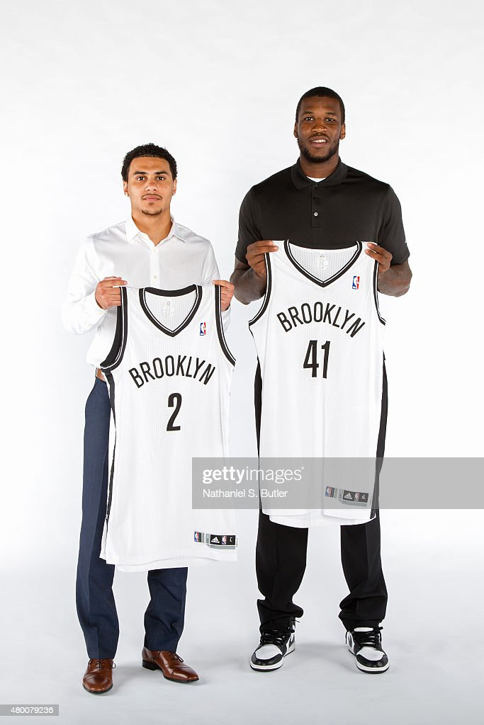 Shane Larkin and Thomas Robinson of the Brooklyn Nets pose for a portrait on July 09 2015 at Barclays Center in Brooklyn New York NOTE TO USER User...