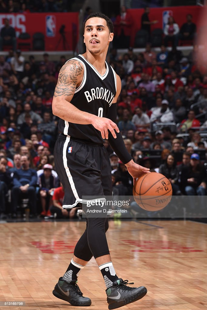 Shane Larkin of the Brooklyn Nets defends the ball against the Los Angeles Clippers during the game on February 29 2016 at Staples Center in Los...