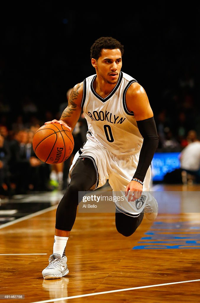 <a gi-track='captionPersonalityLinkClicked' href=/galleries/search?phrase=Shane+Larkin&family=editorial&specificpeople=8641079 ng-click='$event.stopPropagation()'>Shane Larkin</a> #0 of the Brooklyn Nets drives against Fenerbahce during their Pre Season game at the Barclays Center on October 5, 2015 in New York City.