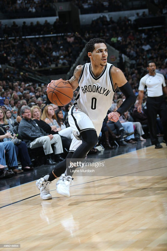 Shane Larkin of the Brooklyn Nets drives to the basket against the San Antonio Spurs on October 30 2015 at the ATT Center in San Antonio Texas NOTE...