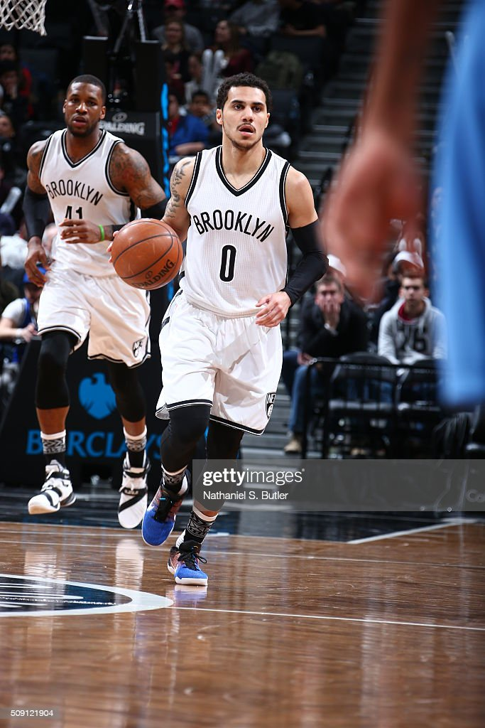 <a gi-track='captionPersonalityLinkClicked' href=/galleries/search?phrase=Shane+Larkin&family=editorial&specificpeople=8641079 ng-click='$event.stopPropagation()'>Shane Larkin</a> #0 of the Brooklyn Nets drives to the basket against the Denver Nuggets during the game on February 8, 2016 at Barclays Center in Brooklyn, New York.
