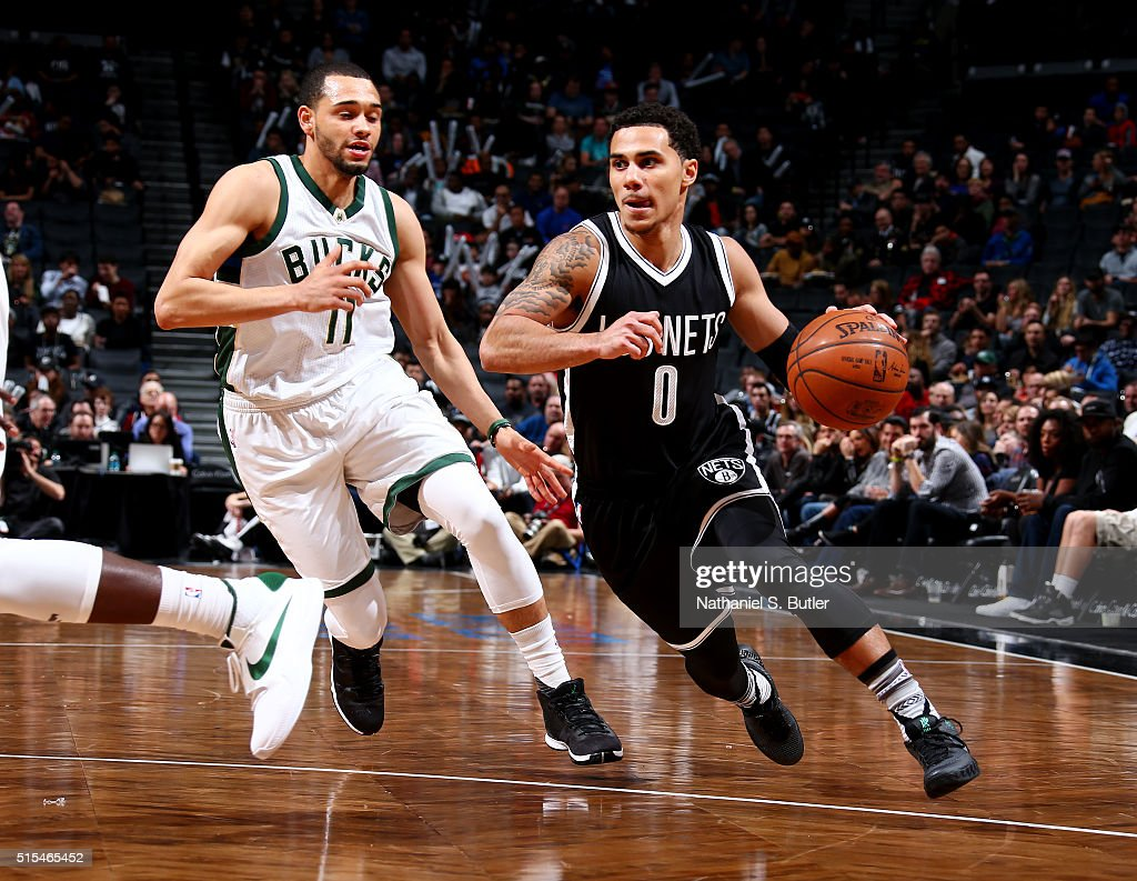 Shane Larkin of the Brooklyn Nets drives to the basket against the Milwaukee Bucks on March 13 2016 at Barclays Center in the Brooklyn borough of New...
