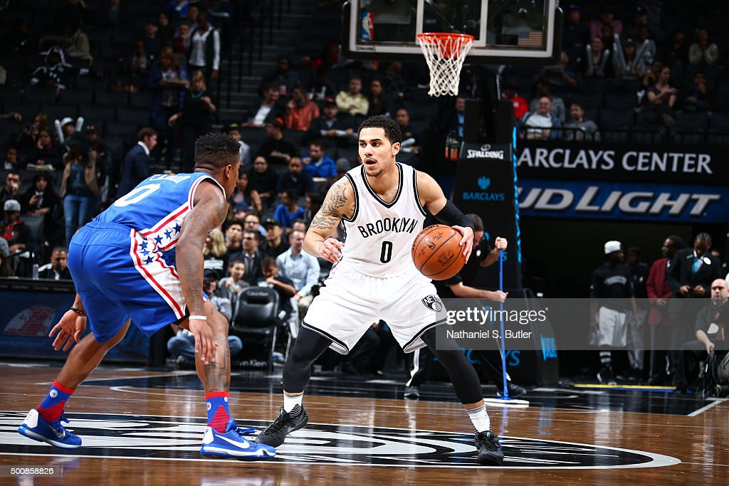 Shane Larkin of the Brooklyn Nets handles the ball against the Philadelphia 76ers on December 10 2015 at Barclays Center in Brooklyn New York NOTE TO...