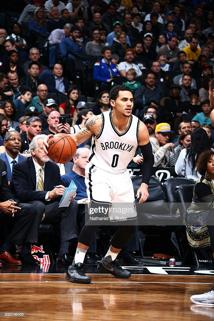 Shane Larkin of the Brooklyn Nets handles the ball during the game against the Golden State Warriors on December 6 2015 at Barclays Center in...