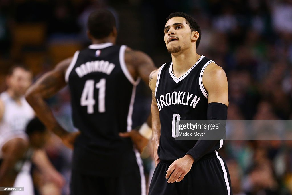 Shane Larkin of the Brooklyn Nets looks on during the second half against the Boston Celtics at TD Garden on November 20 2015 in Boston Massachusetts...