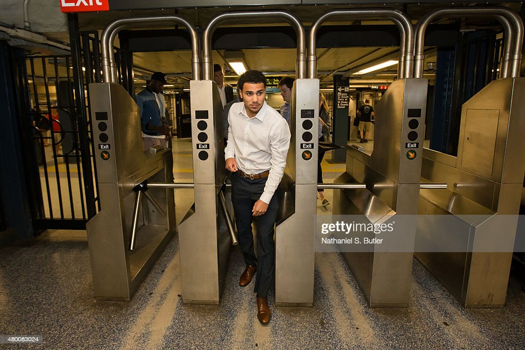 Shane Larkin of the Brooklyn Nets travels on the subway to a press conference on July 09 2015 at Barclays Center in Brooklyn New York NOTE TO USER...