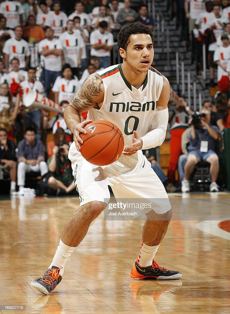 Shane Larkin #0 of the Miami Hurricanes brings the ball up court against the Clemson Tigers on March 9, 2013 at the BankUnited Center in Coral Gables, Florida. The Hurricanes defeated the Tigers 62-49 and won the Atlantic Coast Conference Championship.