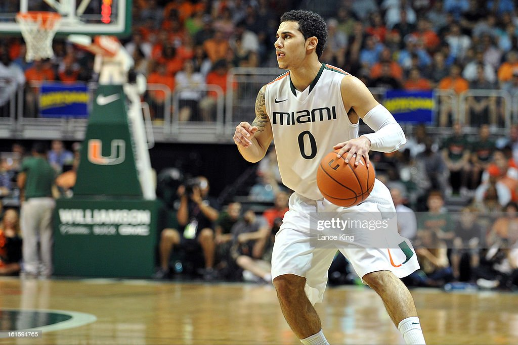 Shane Larkin #0 of the Miami Hurricanes dribbles against the North Carolina Tar Heels at the BankUnited Center on February 9, 2013 in Coral Gables, Florida. Miami defeated North Carolina 87-61.
