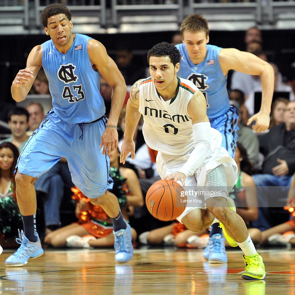 Shane Larkin #0 of the Miami Hurricanes dribbles up court against the North Carolina Tar Heels at the BankUnited Center on February 9, 2013 in Coral Gables, Florida. Miami defeated North Carolina 87-61.