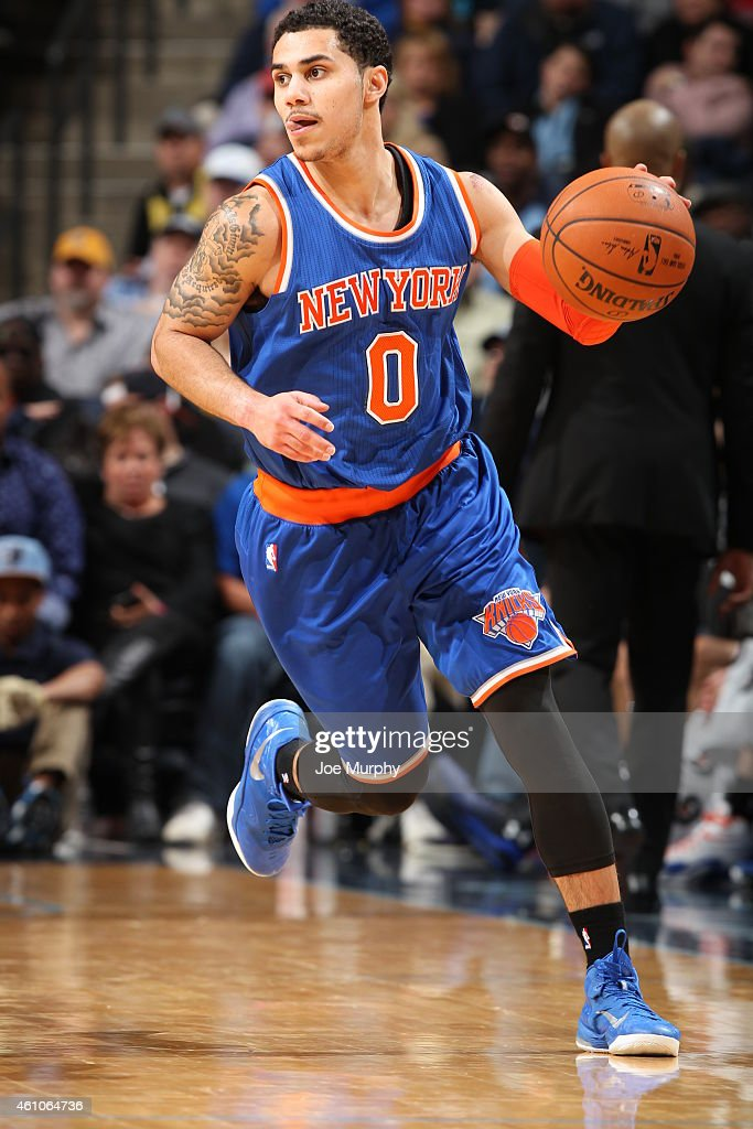 Shane Larkin of the New York Knicks brings the ball up court against the Memphis Grizzlies on January 5 2015 at the FedExForum in Memphis Tennessee...