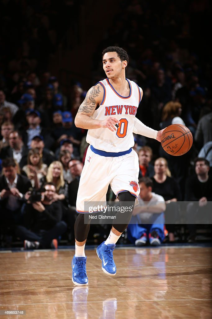 Shane Larkin of the New York Knicks brings the ball up court against the Detroit Pistons on April 15 2015 at Madison Square Garden in New York City...