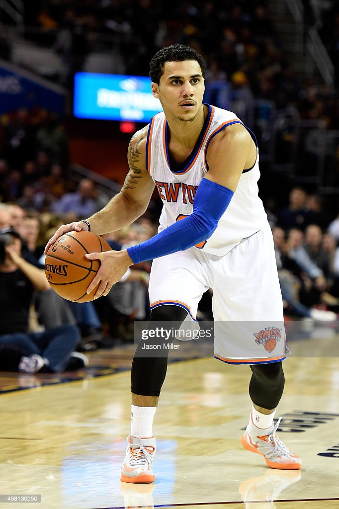 Shane Larkin of the New York Knicks controls the ball against the Cleveland Cavaliers at Quicken Loans Arena on October 30 2014 in Cleveland Ohio...