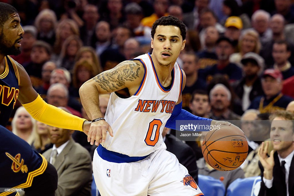 Shane Larkin of the New York Knicks controls the ball in the first quarter against the Cleveland Cavaliers at Quicken Loans Arena on October 30 2014...