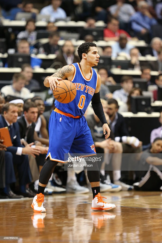 Shane Larkin of the New York Knicks dribbles the ball against the Minnesota Timberwolves during the game on November 19 2014 at Target Center in...