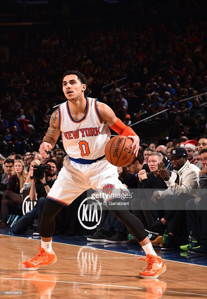 <a gi-track='captionPersonalityLinkClicked' href=/galleries/search?phrase=Shane+Larkin&family=editorial&specificpeople=8641079 ng-click='$event.stopPropagation()'>Shane Larkin</a> #0 of the New York Knicks dribbles the ball while looking to pass against the Dallas Mavericks on December 16, 2014 at Madison Square Garden in New York, NY.