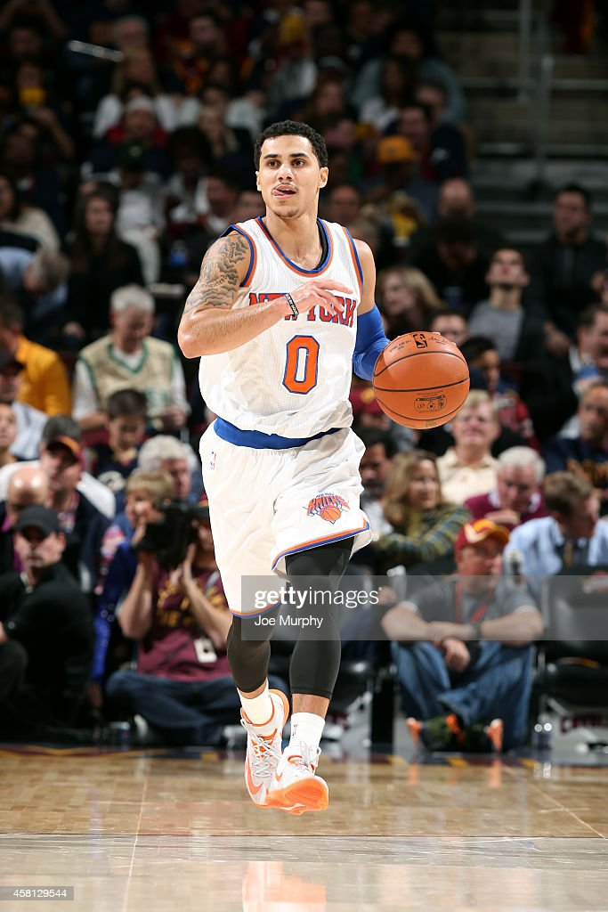 Shane Larkin of the New York Knicks drives against the Cleveland Cavaliers on October 30 2014 in Cleveland Ohio NOTE TO USER User expressly...
