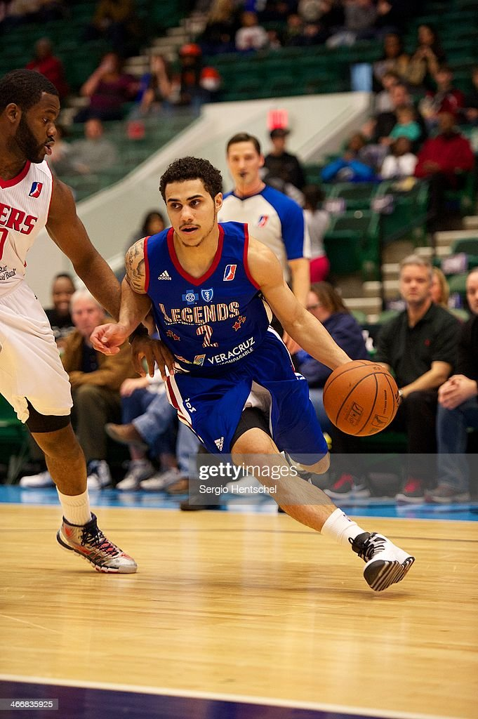 Shane Larkin of the Texas Legends dribbles the ball during the game against the Rio Grande Valley Vipers on February 1 2014 at Dr Pepper Arena in...