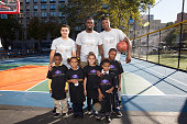 Shane Larkin Tim Hardaway and Cleanthony Early of the New York Knicks participates at NBA Cares Employee Day of Service in partnership with the...