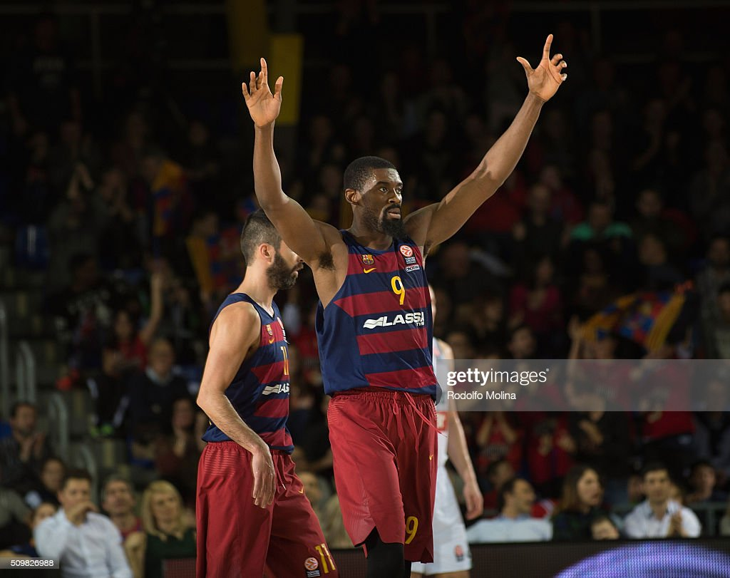 Shane Lawal, #9 of FC Barcelona Lassa celebrates during the Turkish Airlines Euroleague Basketball Top 16 Round 7 game between FC Barcelona Lassa v Zalgiris Kaunas at Palau Blaugrana on February 12, 2016 in Barcelona, Spain.